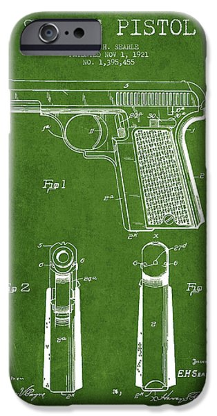 Weapon iPhone Cases - Searle Pistol Patent Drawing from 1921 - Green iPhone Case by Aged Pixel