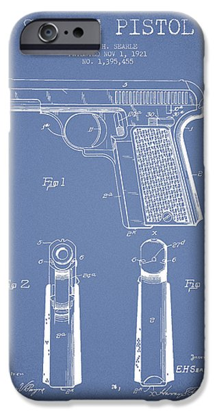 Weapon iPhone Cases - Searle Pistol Patent Drawing from 1921 - Light Blue iPhone Case by Aged Pixel