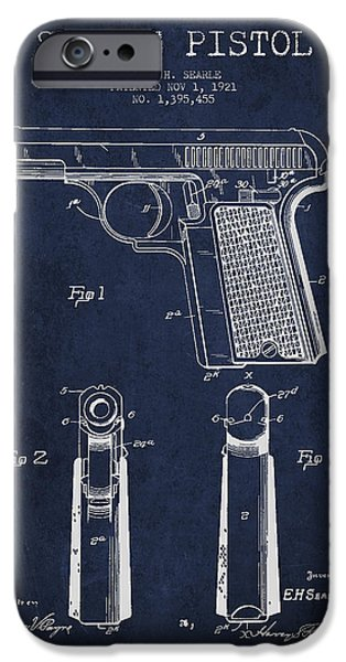 Weapon iPhone Cases - Searle Pistol Patent Drawing from 1921 - Navy Blue iPhone Case by Aged Pixel