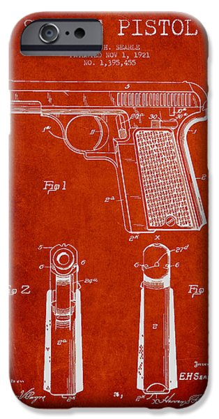 Weapon iPhone Cases - Searle Pistol Patent Drawing from 1921 - Red iPhone Case by Aged Pixel