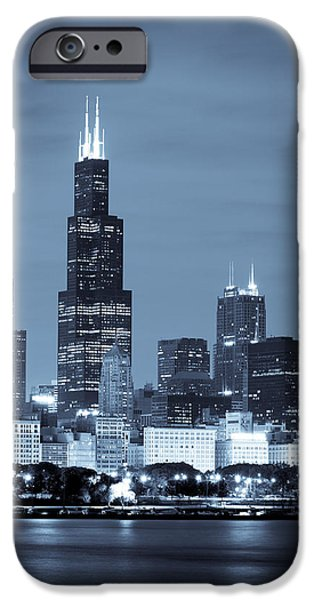 Sears Tower iPhone Cases - Sears Tower in Blue iPhone Case by Sebastian Musial