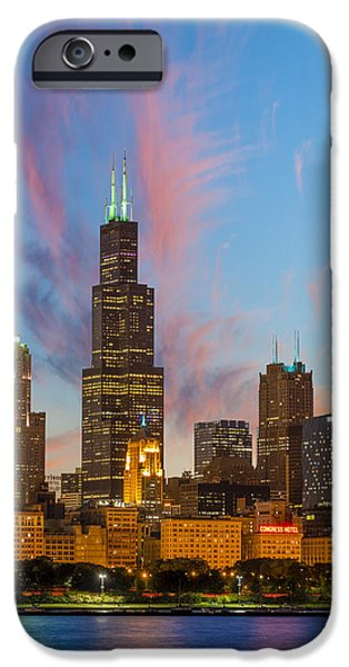 Willis Tower iPhone Cases - Sears Tower Sunset iPhone Case by Sebastian Musial