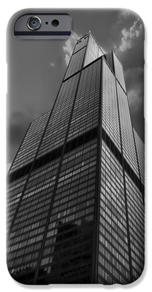Central Il iPhone Cases - Sears Willis Tower Black and White 01 iPhone Case by Thomas Woolworth
