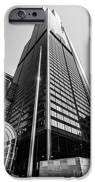 Sears Tower iPhone Cases - Sears Willis Tower Chicago Black and White Picture iPhone Case by Paul Velgos