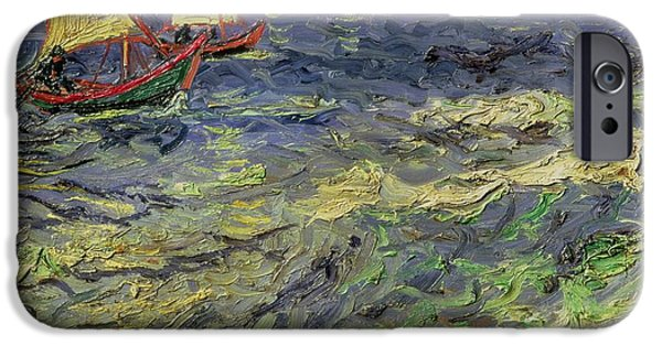 Business Paintings iPhone Cases - Seascape at Saintes-Maries 1888 iPhone Case by Vincent van Gogh