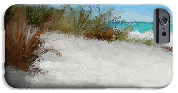 Sand Dunes Mixed Media iPhone Cases - Seascape sand dunes-abstract iPhone Case by Anthony Fishburne