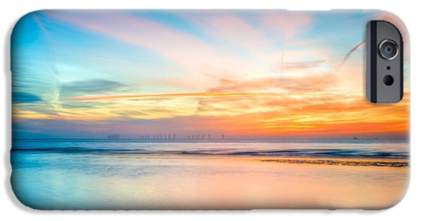 Evening Digital Art iPhone Cases - Seascape Sunset iPhone Case by Adrian Evans