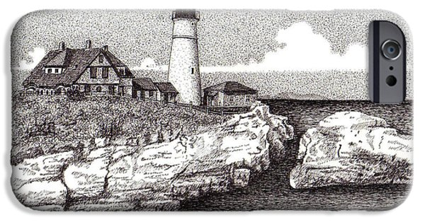 Maine Drawings iPhone Cases - Seascape iPhone Case by Tanya Crum