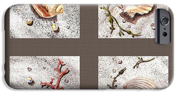 Interior Still Life Paintings iPhone Cases - Seashell Collection III iPhone Case by Irina Sztukowski