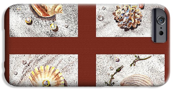 Interior Still Life Paintings iPhone Cases - Seashell Collection IV iPhone Case by Irina Sztukowski
