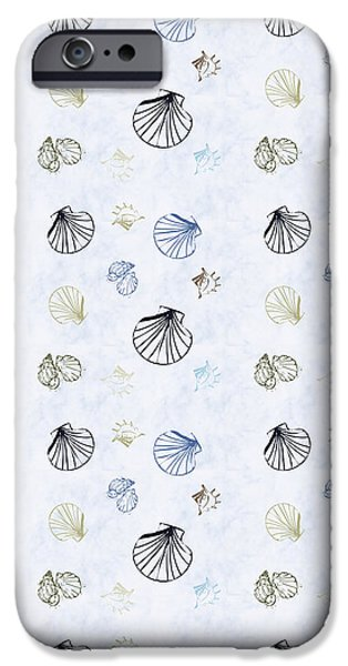 Abstract Beach iPhone Cases - Seashell Pattern iPhone Case by Christina Rollo