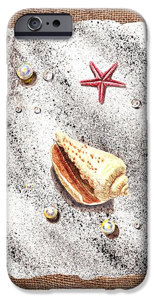 Seashell Art iPhone Cases - Seashell Pearls And Water Drops Collection iPhone Case by Irina Sztukowski
