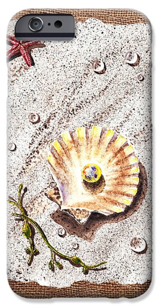 Interior Still Life Paintings iPhone Cases - Seashell With The Pearl Sea Star And Seaweed  iPhone Case by Irina Sztukowski
