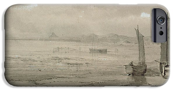 Sea iPhone Cases - Seashore Study Low Tide, With Fishing Boats And Fisherfolk, 19th Century Watercolour iPhone Case by William Collins