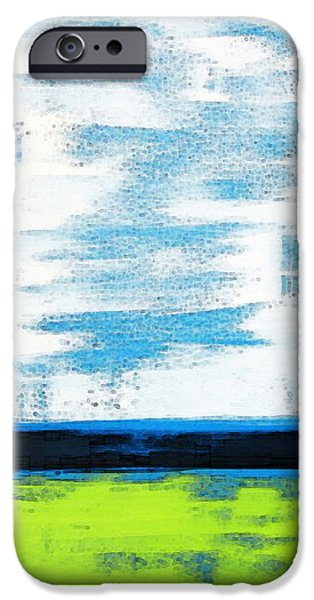 Geometrical iPhone Cases - Seaside - Abstract Modern Art by Sharon Cummings iPhone Case by Sharon Cummings