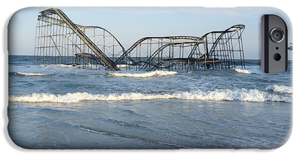 Jetstar Photographs iPhone Cases - Seaside Heights - Jet Star Roller Coaster in Ocean iPhone Case by Niday Picture Library