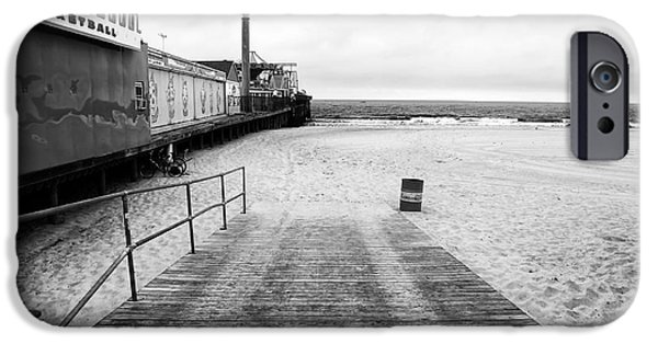 Seaside Heights iPhone Cases - Seaside Heights Beach in black and white iPhone Case by John Rizzuto