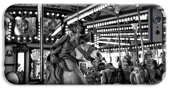 Seaside Heights iPhone Cases - Seaside Heights Carousel Horse mono iPhone Case by John Rizzuto