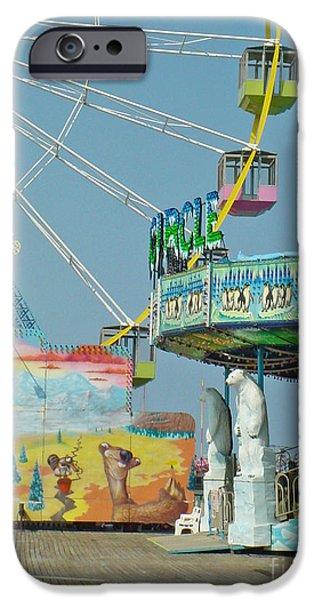 Town iPhone Cases - Seaside Funtown Ferris Wheel iPhone Case by Lyric Lucas