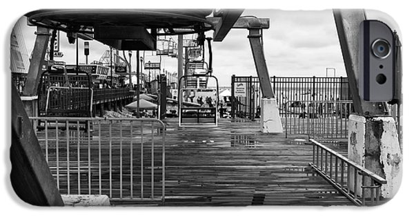 Seaside Heights iPhone Cases - Seaside Heights Chair Lift mono iPhone Case by John Rizzuto