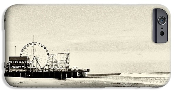 Seaside Heights iPhone Cases - Seaside Heights Funtown Pier Vintage  iPhone Case by Terry DeLuco