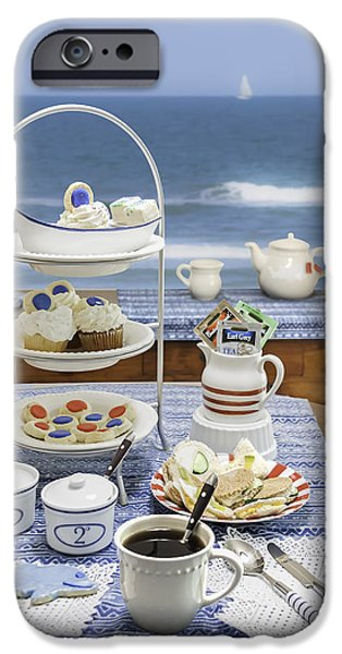 Tea Party iPhone Cases - Seaside Tea Party iPhone Case by Karen Stephenson