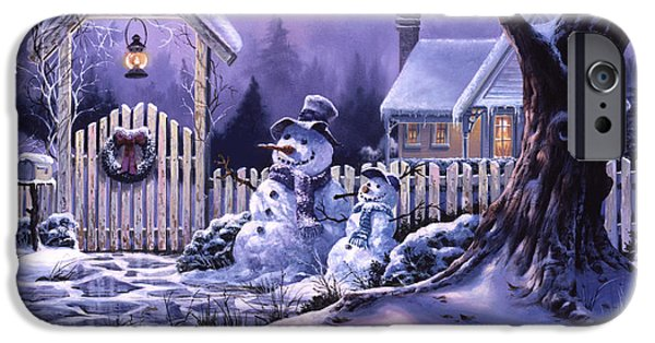 Michael Paintings iPhone Cases - Seasons Greeters iPhone Case by Michael Humphries