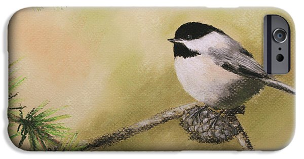 Christmas Greeting Pastels iPhone Cases - Seasons Greetings Chickadee iPhone Case by Marna Edwards Flavell