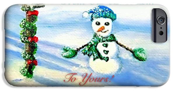 Snow Scene Mixed Media iPhone Cases - Seasons Greetings From Our Mailbox to Yours iPhone Case by Kimberlee  Baxter