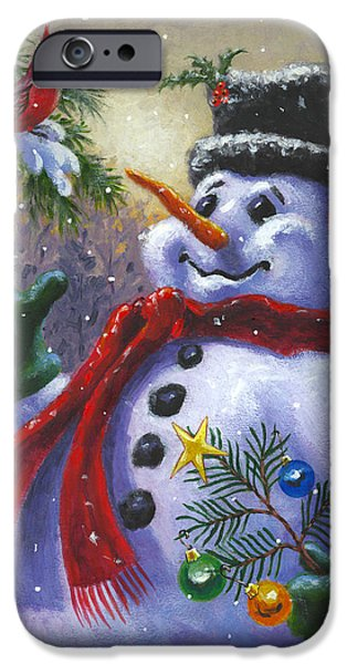 Whimsical. Paintings iPhone Cases - Seasons Greetings iPhone Case by Richard De Wolfe
