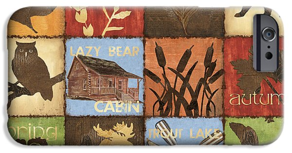 Cabin Interiors iPhone Cases - Seasons Lodge iPhone Case by Debbie DeWitt