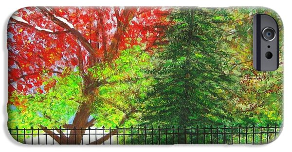 Merging Paintings iPhone Cases - Seasons Merged iPhone Case by Kathleen Howard