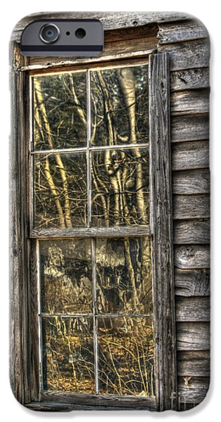 Cabin Window iPhone Cases - Seasons Past iPhone Case by Benanne Stiens