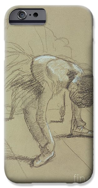 Seated Dancer Adjusting her Shoes iPhone Case by Edgar Degas