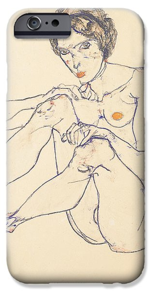 Beautiful Drawings iPhone Cases - Seated female nude iPhone Case by Egon Schiele