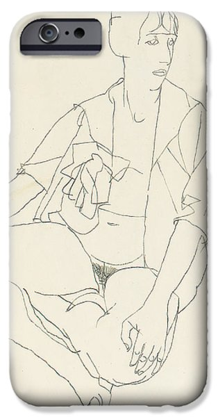 Feminine Drawings iPhone Cases - Seated female nude with open blouse iPhone Case by Egon Schiele