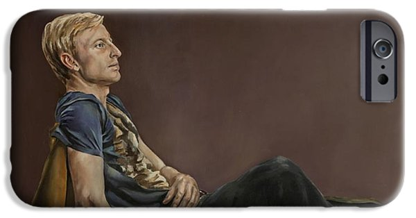 Figures iPhone Cases - Seated Man iPhone Case by Jolante Hesse