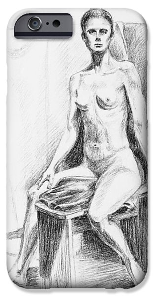 Abstract Shapes Drawings iPhone Cases - Seated Model Drawing  iPhone Case by Irina Sztukowski