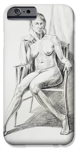 Abstract Shapes Drawings iPhone Cases - Seated Nude Model Study iPhone Case by Irina Sztukowski