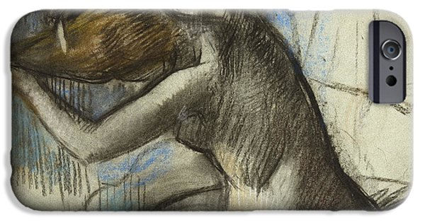 Feminine Pastels iPhone Cases - Seated Nude Woman Brushing her Hair iPhone Case by Edgar Degas