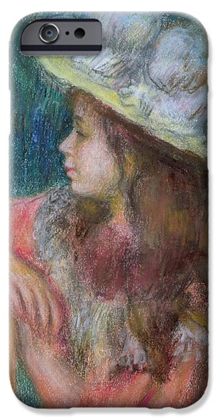 For Children Pastels iPhone Cases - Seated Young Girl in a White Hat iPhone Case by Pierre Auguste Renoir