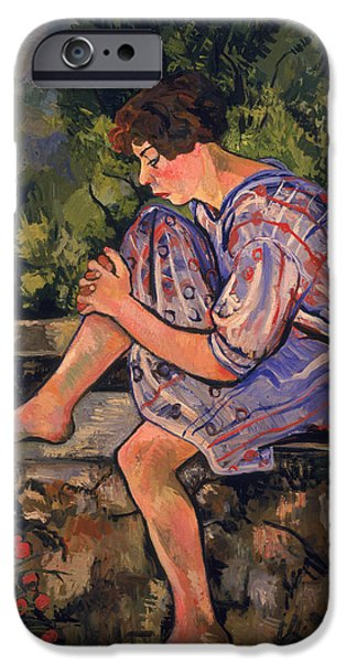 Sitting iPhone Cases - Seated Young Woman iPhone Case by Marie Clementine Valadon