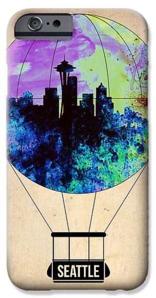 Town iPhone Cases - Seattle Air Balloon iPhone Case by Naxart Studio