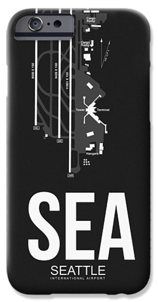 Town iPhone Cases - SEattle Airport Poster 1 iPhone Case by Naxart Studio