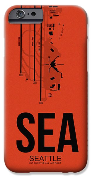 Town iPhone Cases - SEattle Airport Poster 2 iPhone Case by Naxart Studio