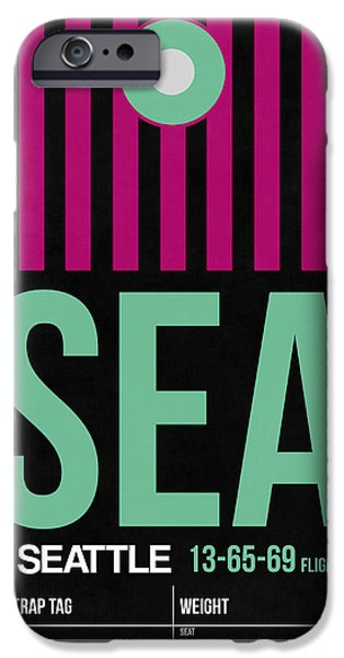 Town iPhone Cases - Seattle Airport Poster 4 iPhone Case by Naxart Studio