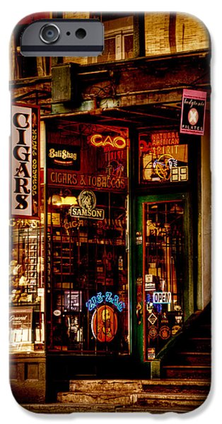 David Patterson iPhone Cases - Seattle Cigar Shop iPhone Case by David Patterson