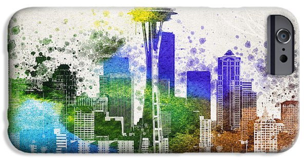 Downtown Mixed Media iPhone Cases - Seattle City Skyline iPhone Case by Aged Pixel
