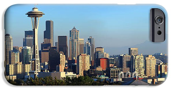 Rainy Day iPhone Cases - Seattle City Skyline With Mt. Rainier iPhone Case by Panoramic Images