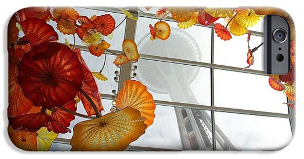 Seattle Glass Art iPhone Cases - Seattle Cloudy Day iPhone Case by Elaine Debolt